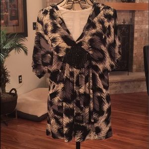 NWT Lane Bryant print blouse with sequins.